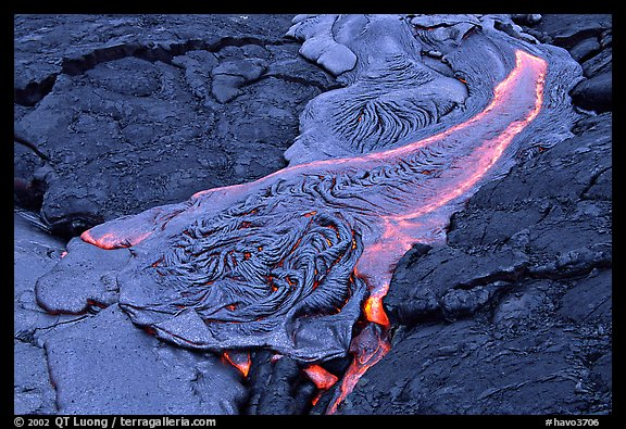 Molten Lava flowing. Hawaii Volcanoes National Park (color)