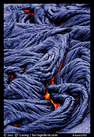 Braids of flowing pahoehoe lava. Hawaii Volcanoes National Park (color)