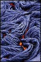 Braids of flowing pahoehoe lava. Hawaii Volcanoes National Park, Hawaii, USA. (color)