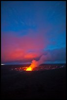 Active volcano crater at dusk, Kilauea summit. Hawaii Volcanoes National Park, Hawaii, USA. (color)