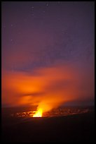 Glow from molten lava illuminates night sky, Kilauea volcano. Hawaii Volcanoes National Park, Hawaii, USA. (color)