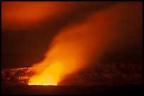 Incandescent glow illuminates venting gas plume by night, Kilauea summit. Hawaii Volcanoes National Park ( color)