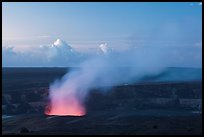 Halemaumau plume with glow from lava lake. Hawaii Volcanoes National Park, Hawaii, USA. (color)