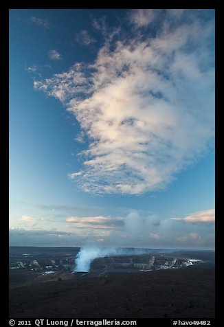 Halemaumau crater smoke and cloud at sunrise, Kilauea. Hawaii Volcanoes National Park, Hawaii, USA.