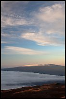 Snowcapped Mauna Loa at sunrise. Hawaii Volcanoes National Park, Hawaii, USA.