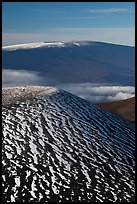 Snowy cinder cone and Mauna Loa summit. Hawaii Volcanoes National Park, Hawaii, USA.