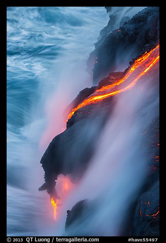 Glowing lava flow reaching the sea. Hawaii Volcanoes National Park (color)