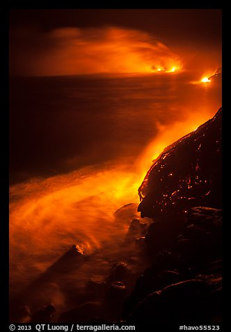 Lava ocean entry at night. Hawaii Volcanoes National Park (color)