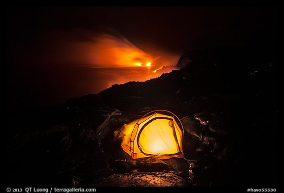 Tent and lava ocean entry. Hawaii Volcanoes National Park (color)