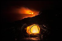 Tent and lava ocean entry. Hawaii Volcanoes National Park ( color)