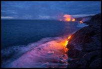 Lava reaching ocean at dawn. Hawaii Volcanoes National Park, Hawaii, USA. (color)