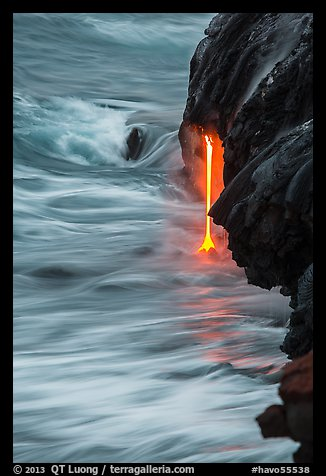 Close-up of lava spigot at dawn. Hawaii Volcanoes National Park (color)