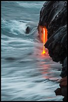 Close-up of lava spigot at dawn. Hawaii Volcanoes National Park, Hawaii, USA. (color)
