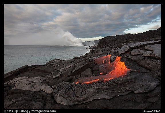 Surface lava flow on the coast. Hawaii Volcanoes National Park (color)