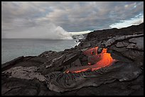 Surface lava flow on the coast. Hawaii Volcanoes National Park, Hawaii, USA. (color)