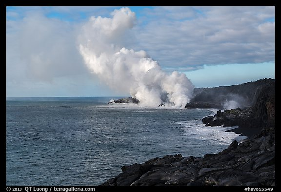 Billowing coastal smoke plume carries toxic sulphur dioxide as lava enters Pacific Ocean. Hawaii Volcanoes National Park (color)