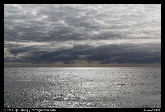 Silvery ocean and clouds, early morning. Hawaii Volcanoes National Park (color)