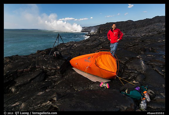 Photographer camping near lava ocean entry. Hawaii Volcanoes National Park (color)