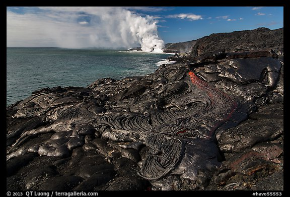 Molten lava flow at the coast. Hawaii Volcanoes National Park (color)