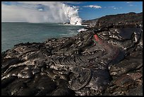 Molten lava flow at the coast. Hawaii Volcanoes National Park, Hawaii, USA. (color)