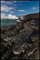 New coastal lava flow. Hawaii Volcanoes National Park, Hawaii, USA. (color)