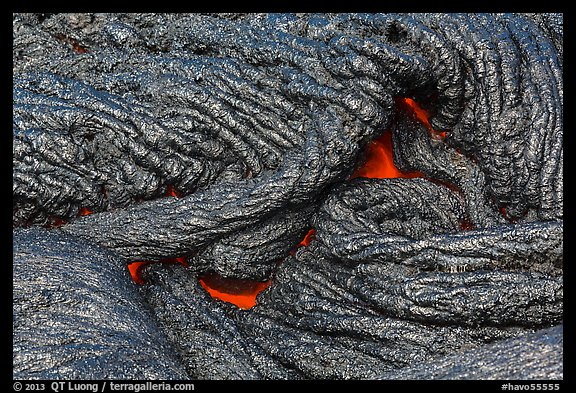 Silvery new lava with glow underneath. Hawaii Volcanoes National Park (color)