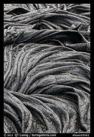 Silvery surface of recent pahoehoe lava. Hawaii Volcanoes National Park (color)