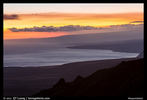 Coastal plain, bay, and Mauna Loa flank at sunset. Hawaii Volcanoes National Park (color)