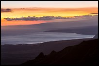 Coastal plain, bay, and Mauna Loa flank at sunset. Hawaii Volcanoes National Park, Hawaii, USA. (color)