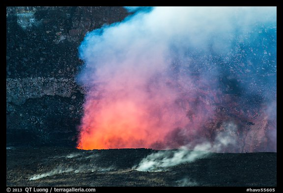 Fumeroles and plume from Halemaumau lava lake. Hawaii Volcanoes National Park (color)