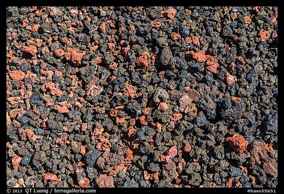 Ground close-up with multicolored lava, Mauna Loa. Hawaii Volcanoes National Park (color)