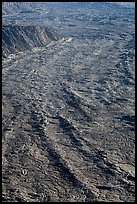 Waves of lava on Mokuaweoweo crater floor. Hawaii Volcanoes National Park, Hawaii, USA. (color)