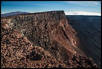 Mauna Kea, summit cliff, and Mokuaweoweo crater from top of Mauna Loa. Hawaii Volcanoes National Park ( color)