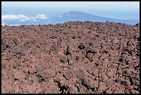 Aa lava field on Mauna Loa and Puu Waawaa summit. Hawaii Volcanoes National Park, Hawaii, USA. (color)