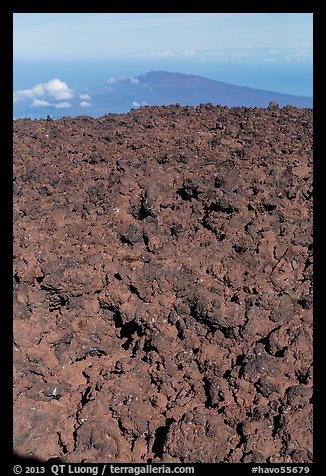 Field of rough aa lava on Mauna Loa summit and Puu Waawaa. Hawaii Volcanoes National Park (color)