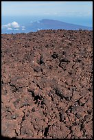 Field of rough aa lava on Mauna Loa summit and Puu Waawaa. Hawaii Volcanoes National Park, Hawaii, USA. (color)
