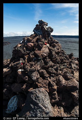 Mauna Loa summit cairn festoned with ritual offerings. Hawaii Volcanoes National Park (color)