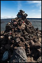 Mauna Loa summit cairn festoned with ritual offerings. Hawaii Volcanoes National Park, Hawaii, USA. (color)