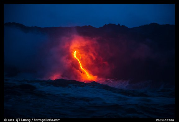 Waves, lava flow, and cliffs. Hawaii Volcanoes National Park (color)
