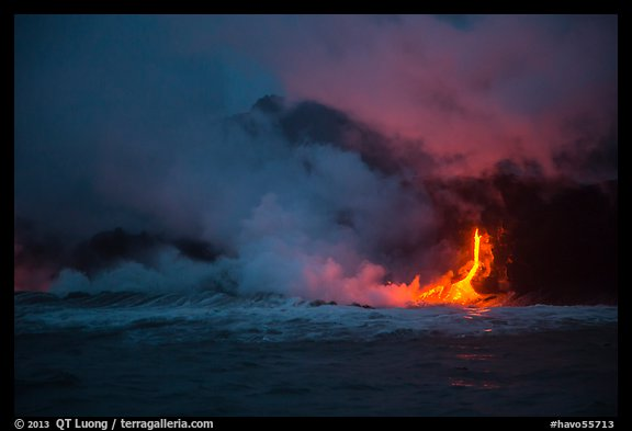 Lava flow seen from the ocean at dawn. Hawaii Volcanoes National Park (color)