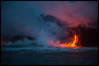 Lava flow seen from the ocean at dawn. Hawaii Volcanoes National Park, Hawaii, USA. (color)