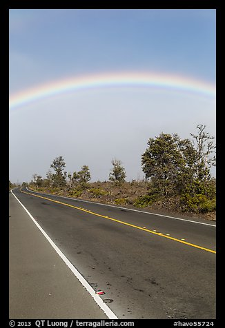 Rainbow above highway. Hawaii Volcanoes National Park (color)
