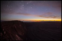 Stars, Mauna Loa summit cliffs, Mokuaweoweo crater, Halemaumau glow at dawn. Hawaii Volcanoes National Park ( color)