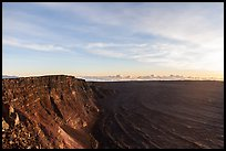 Mauna Loa summit cliffs, Mokuaweoweo crater at sunrise. Hawaii Volcanoes National Park, Hawaii, USA. (color)