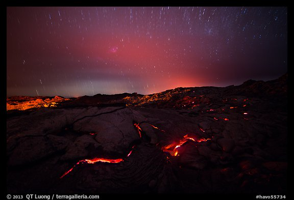 Molten lava flow with star trails. Hawaii Volcanoes National Park (color)