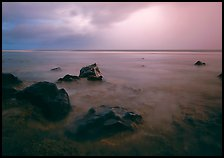 Rocks in water and approaching storm, Siu Point, Tau Island. National Park of American Samoa ( color)