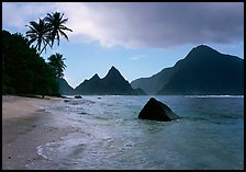 Sunuitao Peak and Piumafua mountain on Olosega Island from the South Beach, Ofu Island. National Park of American Samoa