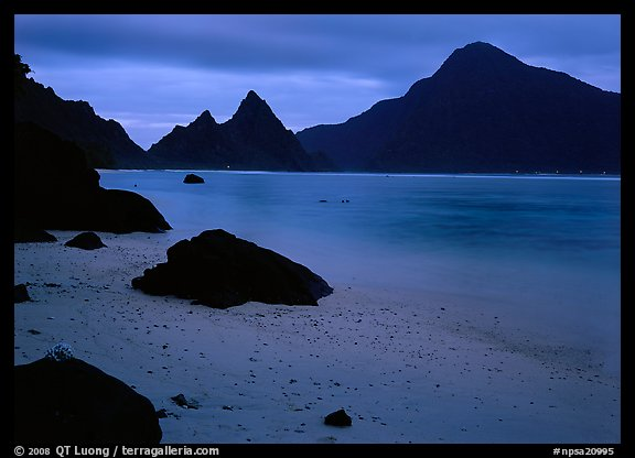 Beach and pointed peaks at dusk, Ofu Island. National Park of American Samoa (color)