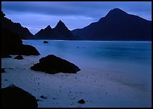 Beach and pointed peaks at dusk, Ofu Island. National Park of American Samoa ( color)