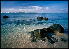 Volcanic boulders and Reef, Ofu Island. National Park of American Samoa (color)